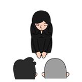 1.順番が回ってきたら祭壇の 前で遺族、僧侶に一礼し、遺影に一礼して合掌します。