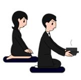 1.香炉が回ってきたら正面に置き、次席の人に「お先に」の意味で会釈し祭壇に向かって合掌します。