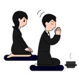 3.祭壇に向かって再び合掌し、両手で香炉を持ち、次の人に回します。