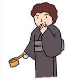 3.さらにひしゃくを右手に持ち替え、左手に少し水をくみ口に含みます。