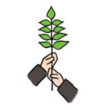 2.祭壇の前でそのまま一礼し、玉ぐしを時計回りに90度回し、祭壇に葉が向くように持ちます。