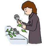 2.祭壇に進み、花をそのまま持ちながら一礼します。